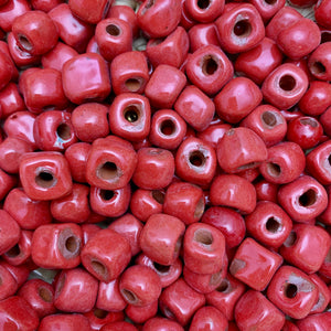 Rustic Square Red Beads
