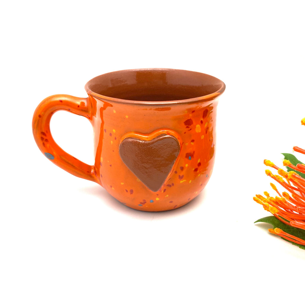 Calliope Heart Mug - Speckled Orange