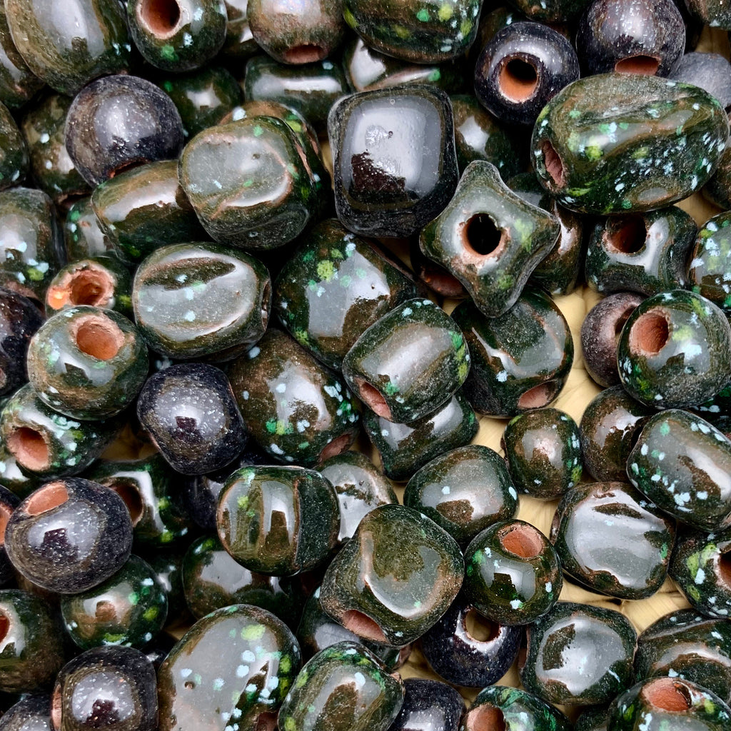 Green-Black Speckled Beads