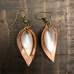 Small Double Leaf Leather Earrings