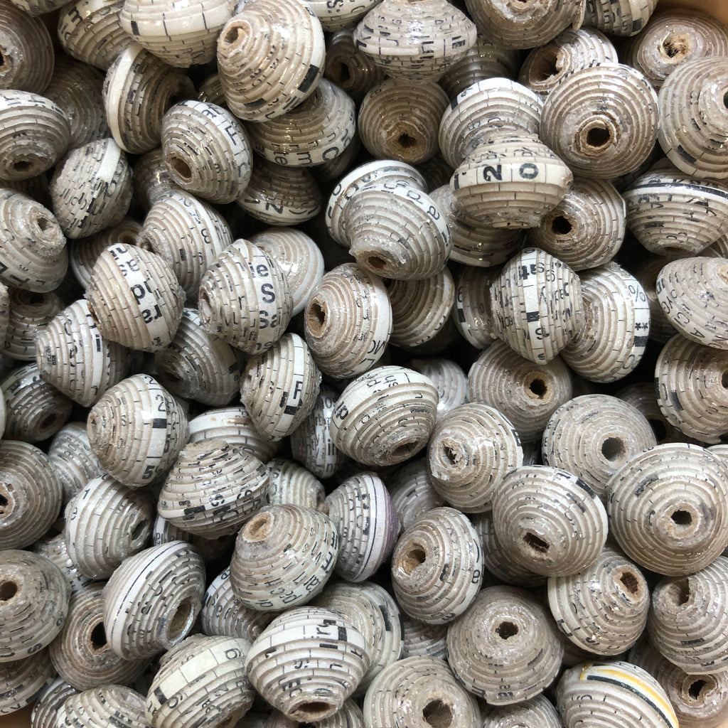 Black and White  Haitian Cereal Box Beads