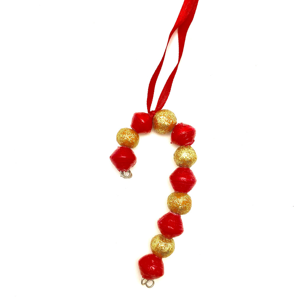 Candy Cane Ornament- Gold/Red