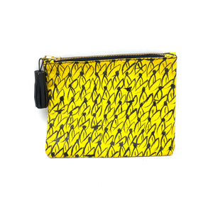 Hand Painted Haitian Leather Zip Pouch- Yellow