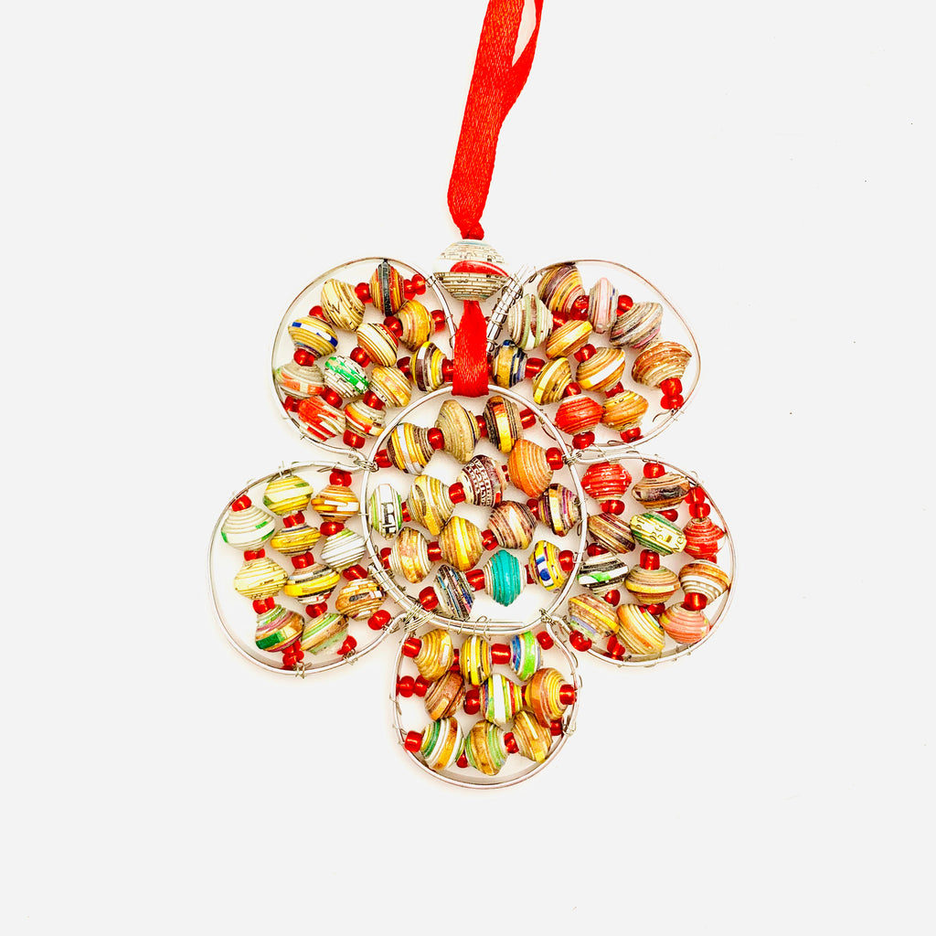 Cereal Box Wire Flower Ornament