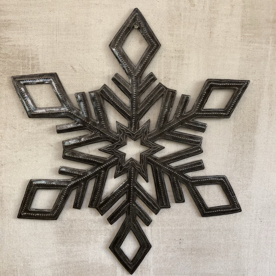 Brushed Metal Snowflake Wall Decor