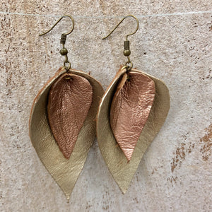 Large Double Leaf Goat Leather Earrings
