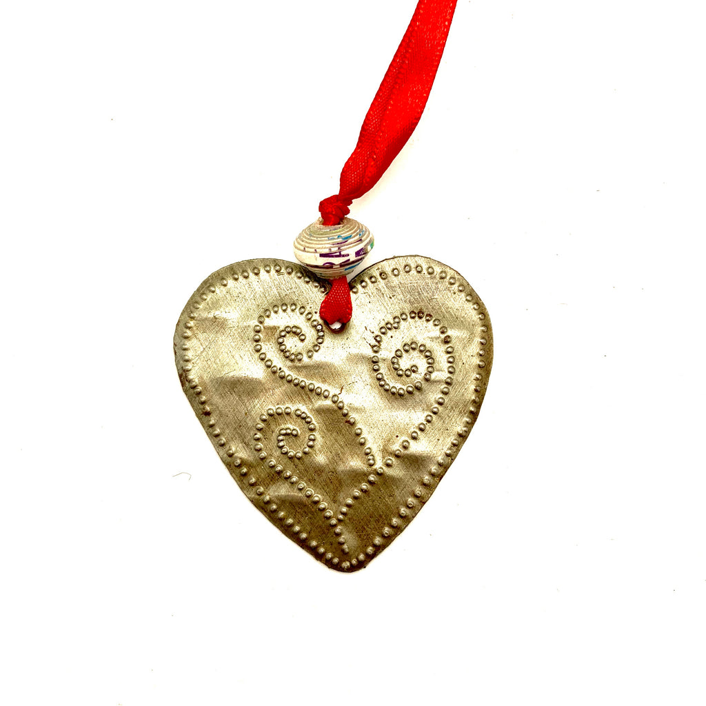 Whimsical Metal Heart Ornament