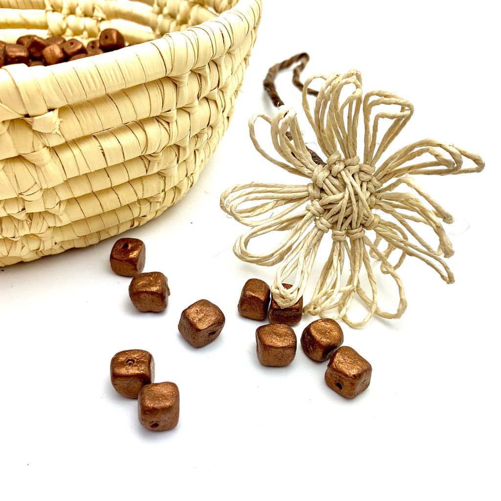 Rustic Square Bronze Beads