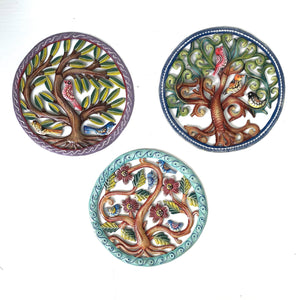 Stunning Triptych Colorful Round Birds- Set of 3