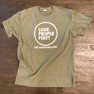"""Love People First"" Tee (Army Green & White)"