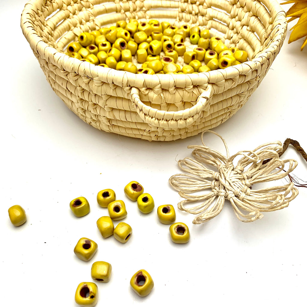 Rustic Square Yellow Beads