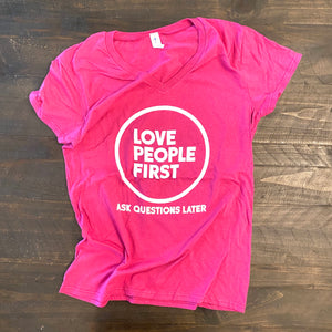 Love People First V-neck (Hot Pink & White)