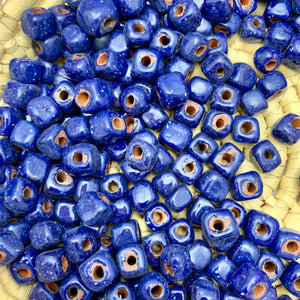 Rustic Square Speckled Blue Beads