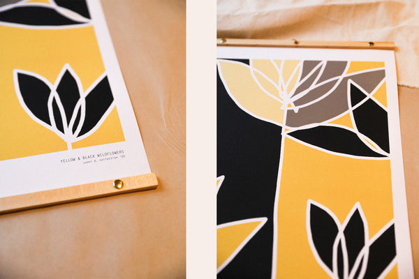 YELLOW AND BLACK WILDFLOWERS - Affiche