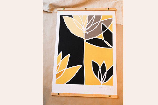 YELLOW AND BLACK WILDFLOWERS - Print
