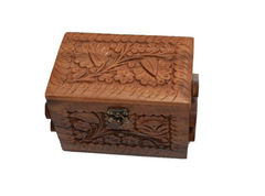 "Jewelry Box Solid Wooden with Hand Carving Floral Designs and Medieval Era Lock Three Compartments 8""x5""x5"" [New Arrival]"