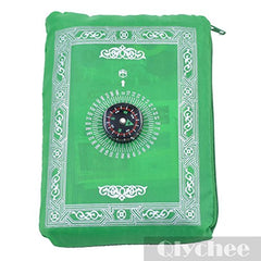 1pc Muslim Travel Prayer Rug with Pouch Islamic Portable Pocket Mat (Green)