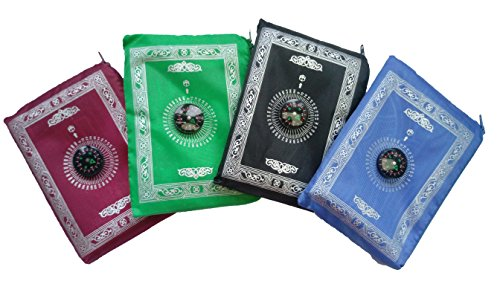Portable Waterproof Muslim Prayer Mat Light Prayer Rug with Compass Muslim Prayer Rug Qibla Finder Booklet (4PCS)