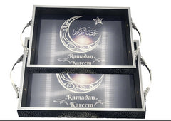 Handmade Ramadan Kareem Eid Mubarak Islamic Party Decor Tray Gift Set Candy Chocolate Dry Fruit Box Fresh Fruit Tray Dates Tray Box Muslim Decor Iftar Dinner Party Supply Ramadan Decoration