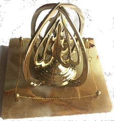 "Eid Gift Hajj Haji Brass Allah on Marble Base Islamic Gift Desktop Allah (S.W.T) Hand Polished 3D Modern Decor 5""x5""x5"""