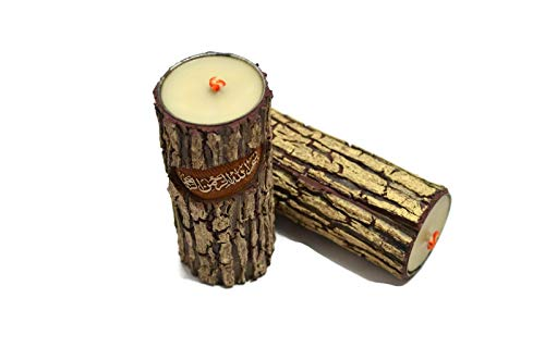 Islamic Hajj Haji Gift Handcrafted Candle with Besmellah Bismillah - In the Name of God - (Qty 1 per order) Wood Tree-Trunk Like Shelf Table Decor - 8""