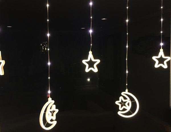 iHcrafts String Light Moon Star Ramadan Islamic LED NEON Holiday Party Light Decoration with US Plug 9pcs/Set (Warm White)