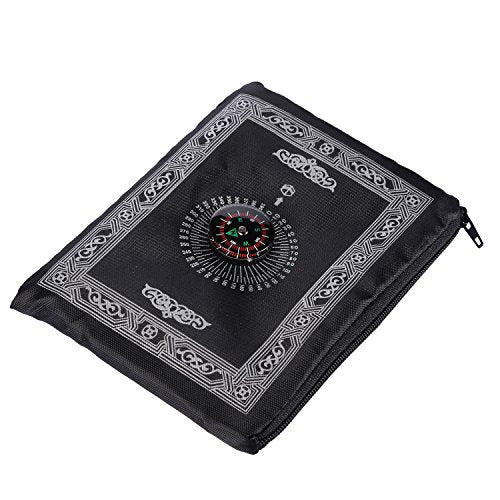 Hitopin Travel Prayer Rug with Compass, Pocket Size Praying Mat Portable Compass Qibla Finder with Booklet Waterproof Portable Black Color Best Islamic Gift for Muslim