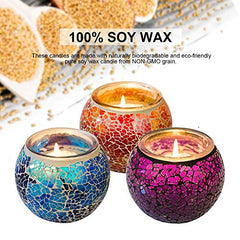 Scented Candles Set, Handmade Mosaic Design 5.0Oz Natural Soy Wax Candles Mosaic Glass Candles for Aromatherapy, Weddings Gift, Home Decoration3pcs/set (3 pc Set Scented)