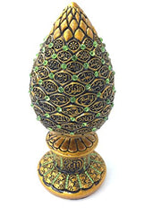 Excellent Eid Hajj Gift Decor' Golden 99 Names of Allah Asma ul Husna Egg with Green Beads Islamic Table Decor Gold Egg Sculpture Figure Arabic Esma al Husna 7.5""