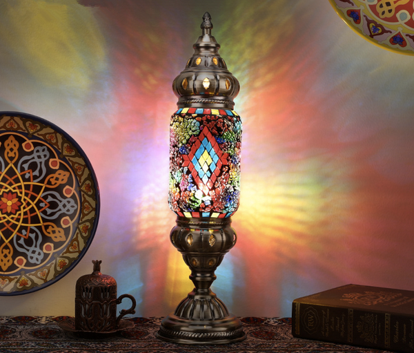Marvelous Tiffany Style Night Light with Bronze BaseTurkish Marrakech-Like Moroccan Mosaic Desk Bedside Lamp with Bronze Base Hand Crafted Nightlight Bedroom Lantern [New Arrival]