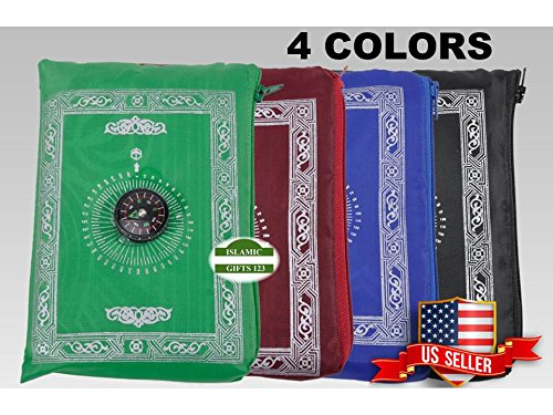 Islamic Travel Portable Prayer Mat(Pack of 2) Portable Rug,Carry Bag Waterproof Islamic Prayer Rug,Qibla,Ramadan-Eid Gift,Muslim Gift,Quran-Islamic Gifts 123-US Seller Delivery☪☪☪☪☪☪☪☪☪☪ (Blue)