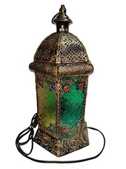 iHcrafts Moroccan Style Electric-Lantern LED Light Black Temple Lantern Egyptian Ramadan Light Vintage Style Electrik Lantern Decor Moroccan Style-Candle Lantern Decorative Indoor [New Arrival]