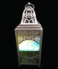 Moroccan Style Candle-Lantern Battery Operated LED Light Black Temple Lantern Egyptian Ramadan Light Vintage Style Candle Lantern Decor Moroccan Style-Candle Lantern Decorative Indoor [New Arrival]
