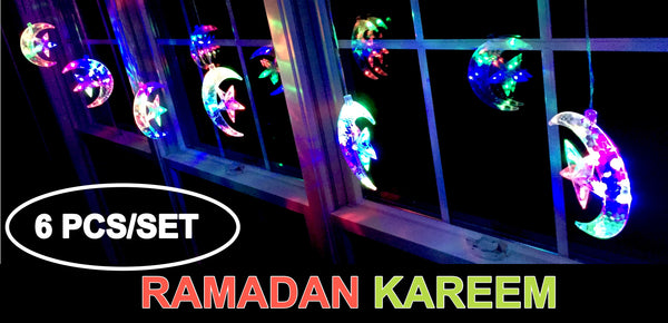 iHcrafts String Light Moon Star Ramadan Islamic LED Light Holiday Party Decoration with US Plug 6pcs/Set