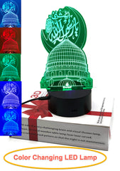 Ramadan Eid Gift 3D LED Optical Illusion Lamp with USB 7 Color Changing Light Night-Light Nightlight Bedside Lamp LED with Smart Touch Bedside Lamps Birthday Gifts