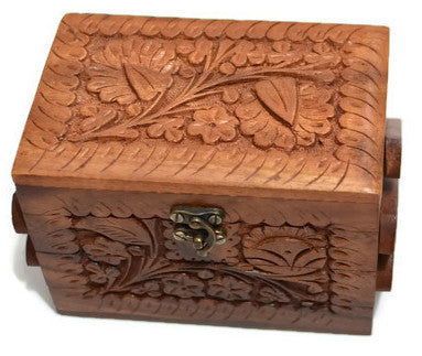 "Girls Jewelry Box Solid Wooden with Hand Carved Floral Designs Three Compartments 6""x5""x5"""