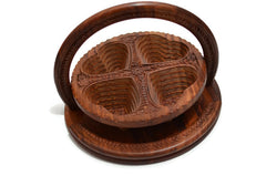 Wooden Collapsible Fruit Basket Three or Four Heart Design Hand Crafted Decorative Gift Item 12""