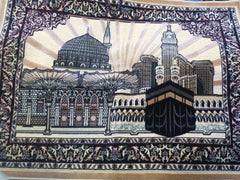 Al Haramein Kaaba and Medina on Beige background Cloth Wall Hanging Fabric Decor