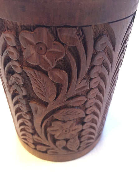 Elegant Cute Pen Pencil Holder Hand Crafted Wooden with Floral Design