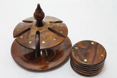 Elegant Cup Coasters No Lid Hand Crafted Wooden with Copper Etching Design Gift Set of 6 [New Arrival]