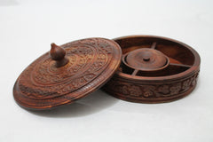 "Wooden Dry Fruit Basket/Tray Five Compartments with Floral Hand Carving 7"" [New Arrival]"