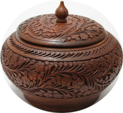 Wooden Candy Pot Pourri Jar with Hand Crafted Floral Design Diameter 8""