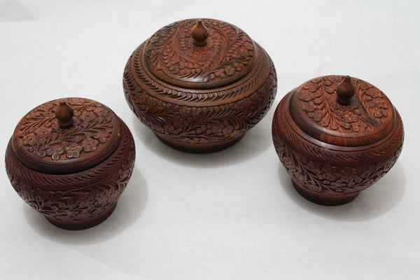 "Wooden Candy Jar Set with Hand Crafted Floral Design Diameter 8"" and 5"" Qty 3"