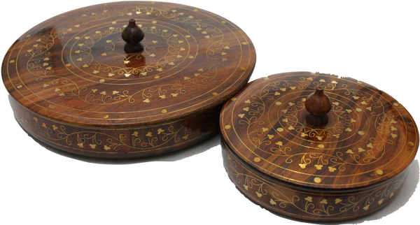 "Wooden Dry Fruit Basket/Tray Pair Five Compartments with Copper Etching Hand Crafted Decorative Gift Item 7"" and 10"" Set of Two [New Arrival]"