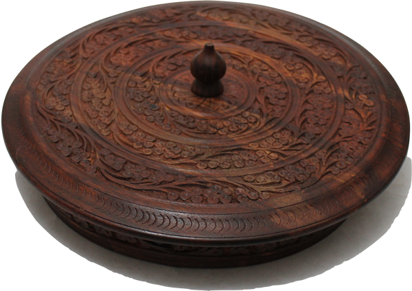 "Wooden Dry Fruit Basket/Tray Five Compartments with Floral Hand Carving 10"" [New Arrival]"