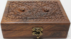 "Girls Jewelry Box Solid Wooden Floral Designs ~ 5""x4""x1"""