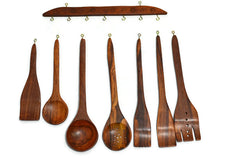 Wooden Kitchen Decorative Utensil set Hand Crafted (7 piece) with hanger