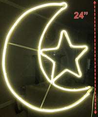 "iHcrafts Wall Hanging Ramadan Islamic Moon Star Neon LED Light Holiday Party Decoration with US Plug 24"" [New Arrival]"