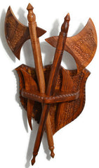 "Wooden Axe and Two Daggers Knife set with Wall Hanging Shield Hand Crafted Solid Wood 20"" length [New Arrival]"