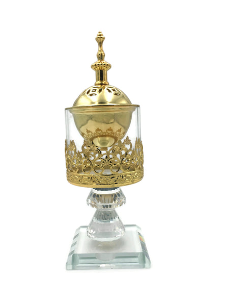 iHcrafts Non Electric Crystal Bakhoor Burner Mabkhara Incense Burner to be Used with Charcoal Crystal Decor- Oud Frankincense Resin Burner Gift Positive Energy (Gold) [New Arrival]